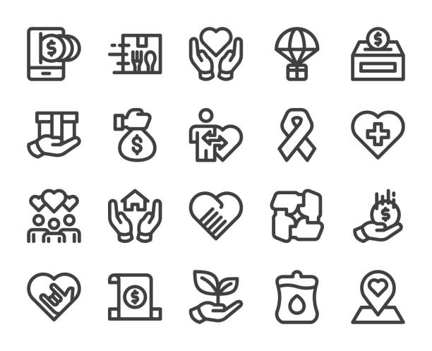 Charity and Donate - Bold Line Icons vector art illustration