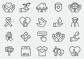 Charity and Donate Line Icons