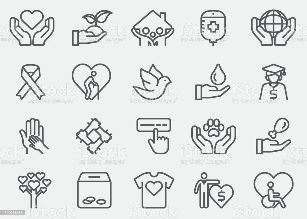 Charity and Donate Line Icons vector art illustration