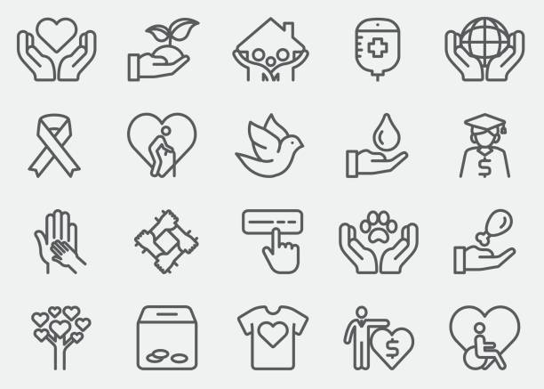 charity and donate line icons - geriatrics stock illustrations, clip art, cartoons, & icons