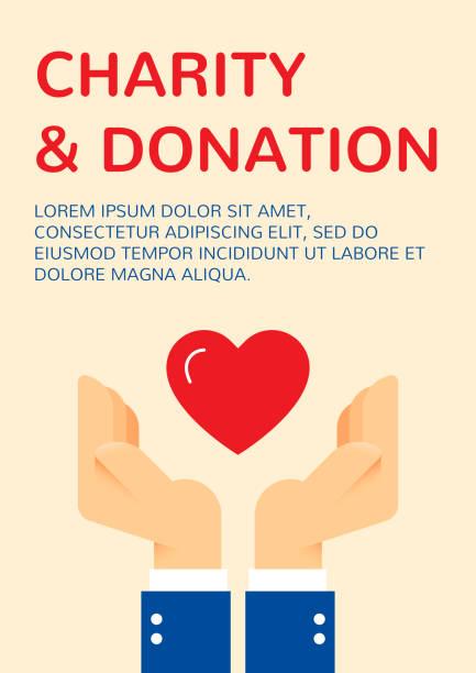 ilustrações de stock, clip art, desenhos animados e ícones de charity and donation banner template - coração fraco