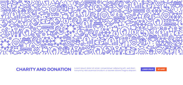 Charity and Donation Banner Charity and Donation Banner corporate responsibility stock illustrations