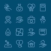Charity and Donation blue line icon 1