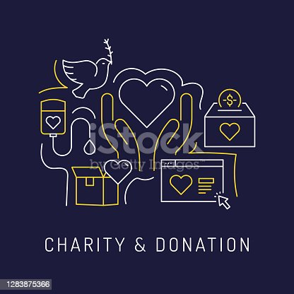 Charity and Donation Concept, Modern Line Art Icons Background. Linear Style Vector Illustration.