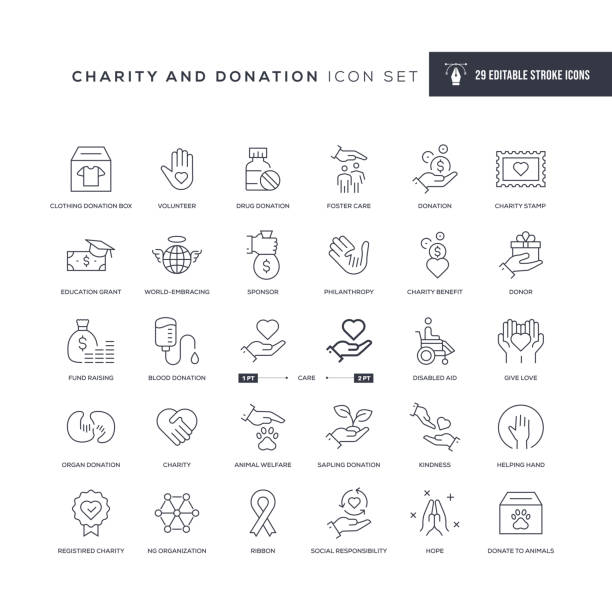 Charity and Donation Editable Stroke Line Icons 29 Charity and Donation Icons - Editable Stroke - Easy to edit and customize - You can easily customize the stroke with charity stock illustrations