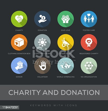 Charity and Donation Flat Design 12 Icons
