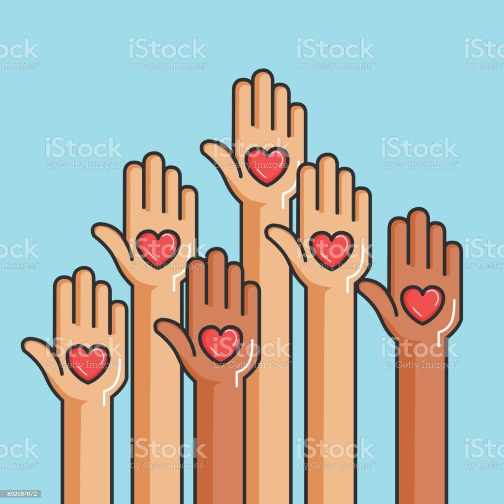 charity and donation give and share your love to poor people vector art illustration