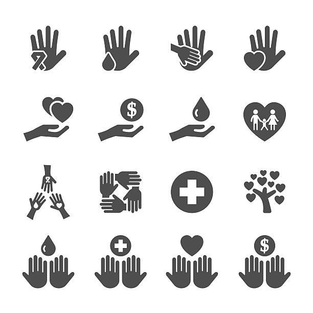stockillustraties, clipart, cartoons en iconen met charity and donation icon set 10, vector eps10 - 2015