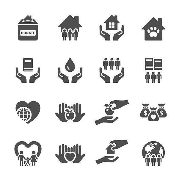 charity and donation icon set 2, vector eps10 charity and donation icon set 2, vector eps10. sheltering stock illustrations