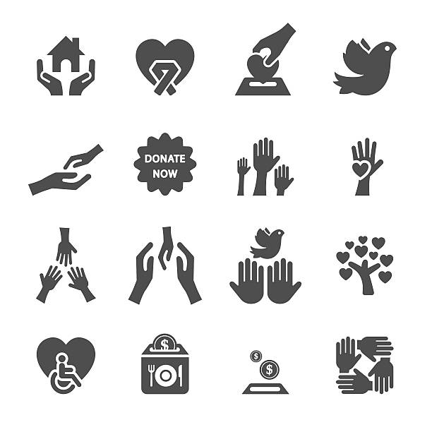 stockillustraties, clipart, cartoons en iconen met charity and donation icon set 8, vector eps10 - 2015