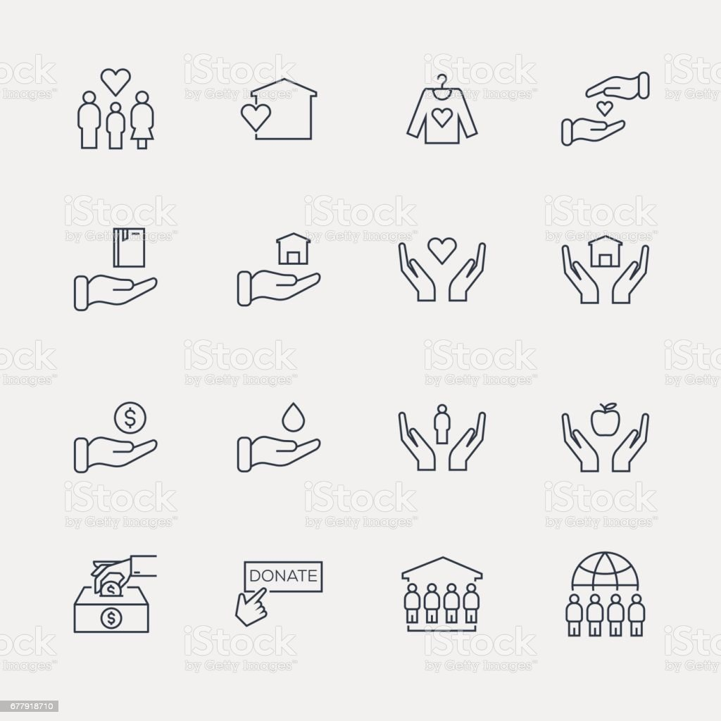 Charity and Donation Icon Set - Line Series vector art illustration