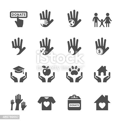 charity and donation icon set, vector eps10.