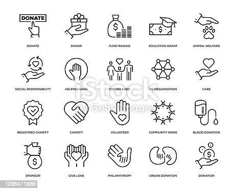 Charity and Donation Icon Set - Thin Line Series