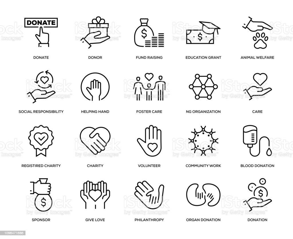 Caridad y conjunto de iconos de donación - ilustración de arte vectorial