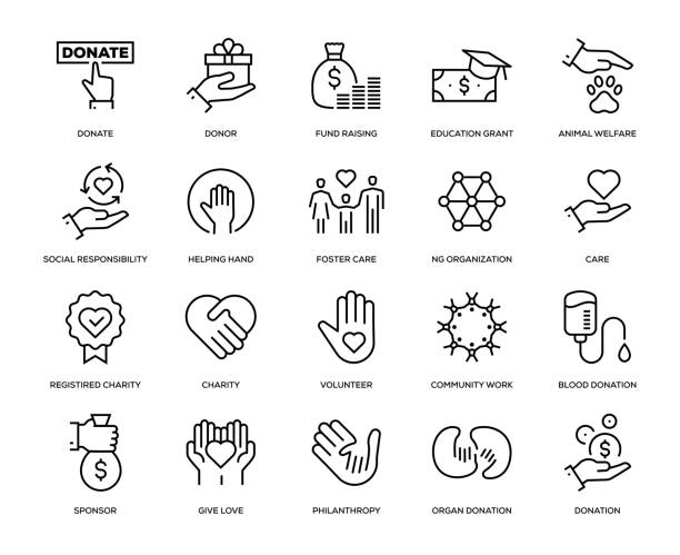 Charity and Donation Icon Set Charity and Donation Icon Set - Thin Line Series a helping hand stock illustrations