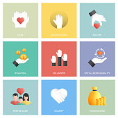 Charity and Donation Icon Set Flat Design