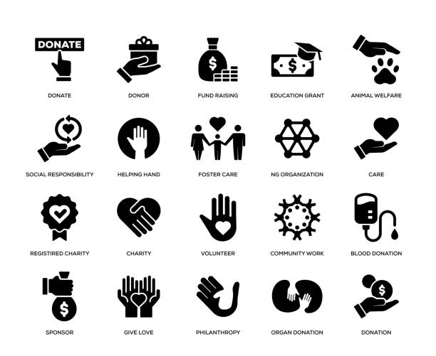 charity and donation icon set - помощь stock illustrations