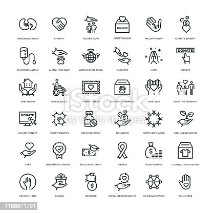 36 Charity and Donation Icons - Line Series