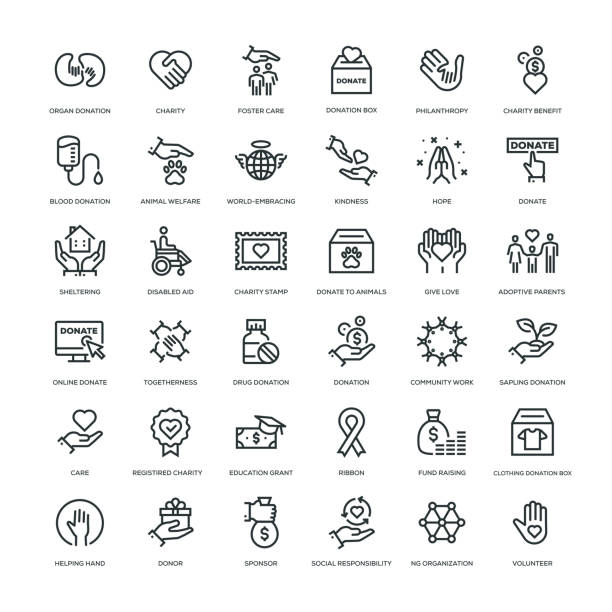 Charity and Donation Icon Set 36 Charity and Donation Icons - Line Series conceptual symbol stock illustrations
