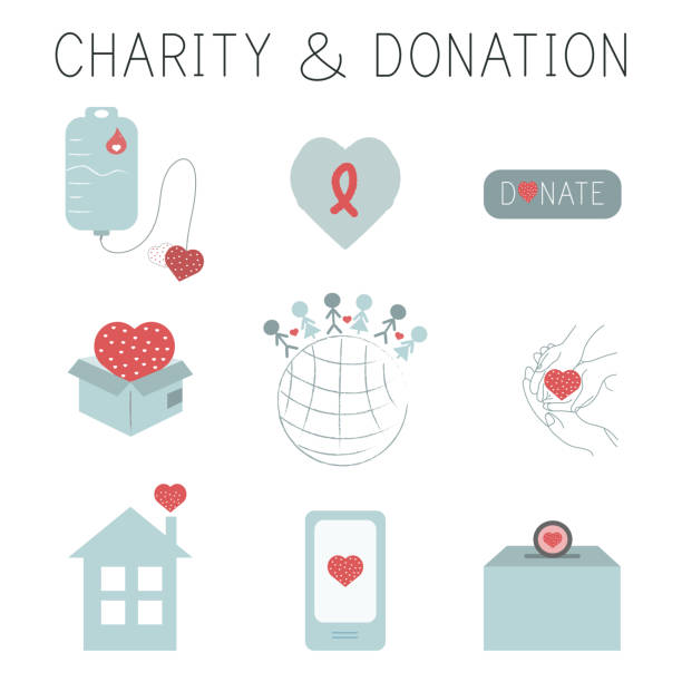 Charity and donation icon set vector art illustration