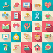 Charity And Donation Icon Set. Flat design with Long Shadow