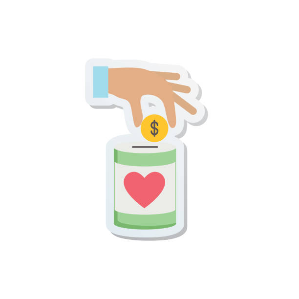Charity And Donation Icon Sticker Charity And Donation Icon In Flat Design Style Sticker. giving tuesday 2020 stock illustrations