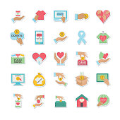 Charity And Donation Icon In Flat Design Style Sticker.