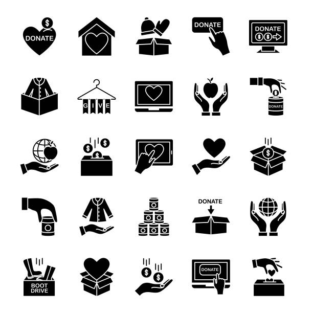 Charity And Donation Icon Flat design style charity and donation icon food bank stock illustrations