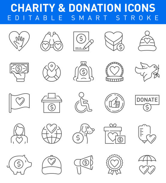 Charity and Donation Icons. Editable stroke Charity and Donation Icon set with money, heart shape,charity, safety symbols animal shelter stock illustrations