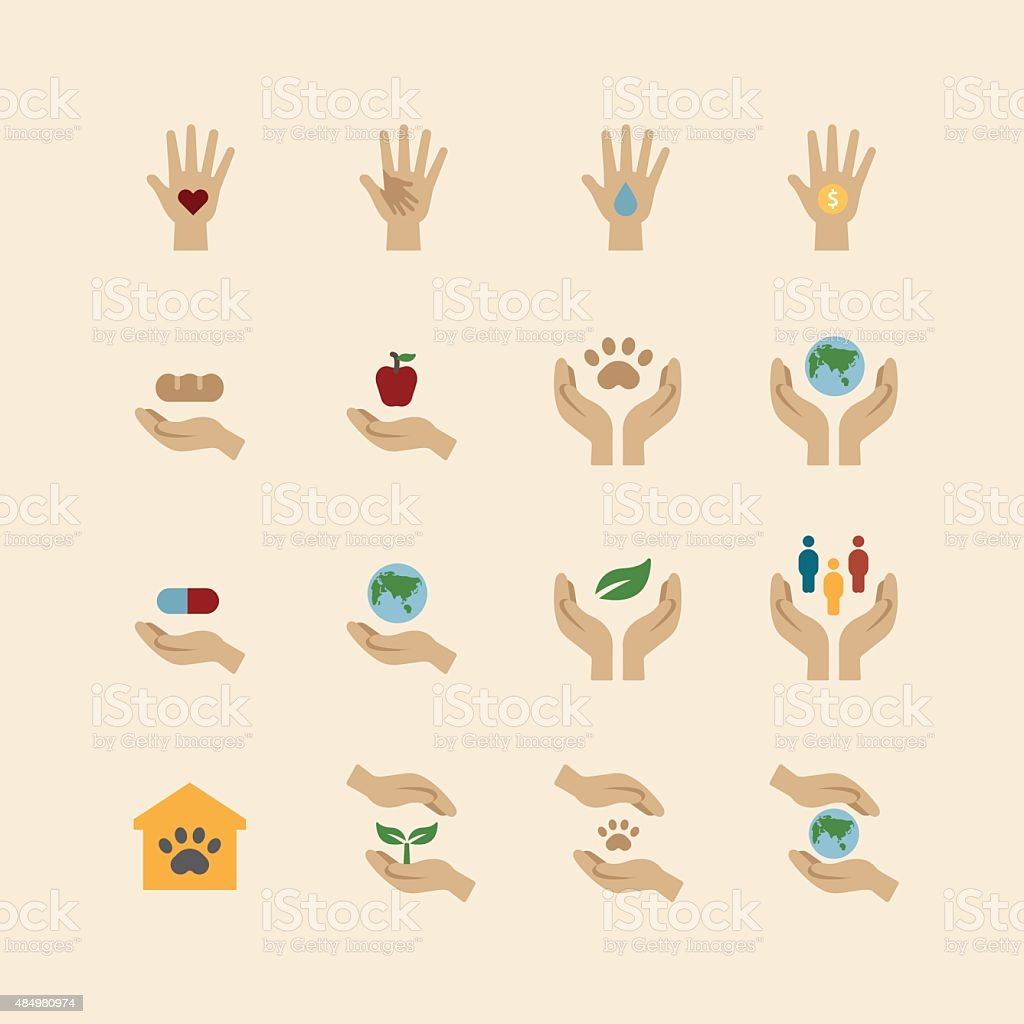 charity and donation icons flat line design vector vector art illustration