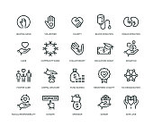 Charity and Donation Icons - Line Series