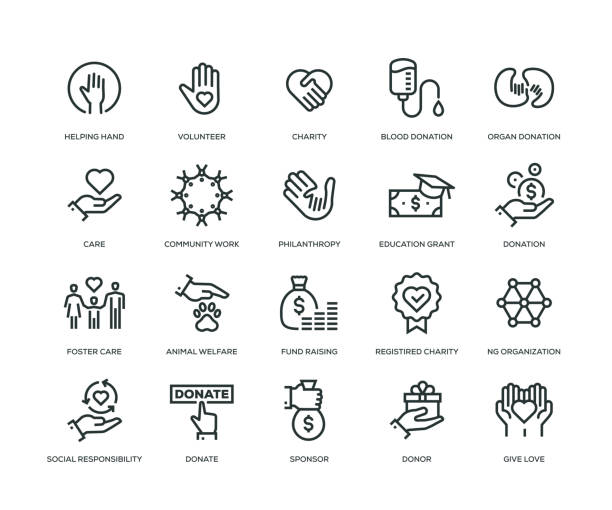 charity and donation icons - line series - помощь stock illustrations