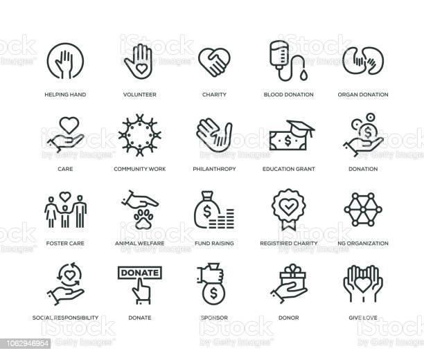자선 및 기부 아이콘라인 시리즈 Charitable Foundation에 대한 스톡 벡터 아트 및 기타 이미지