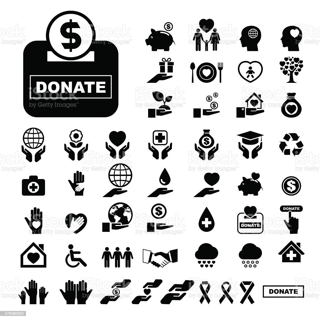 Charity and donation icons set vector art illustration