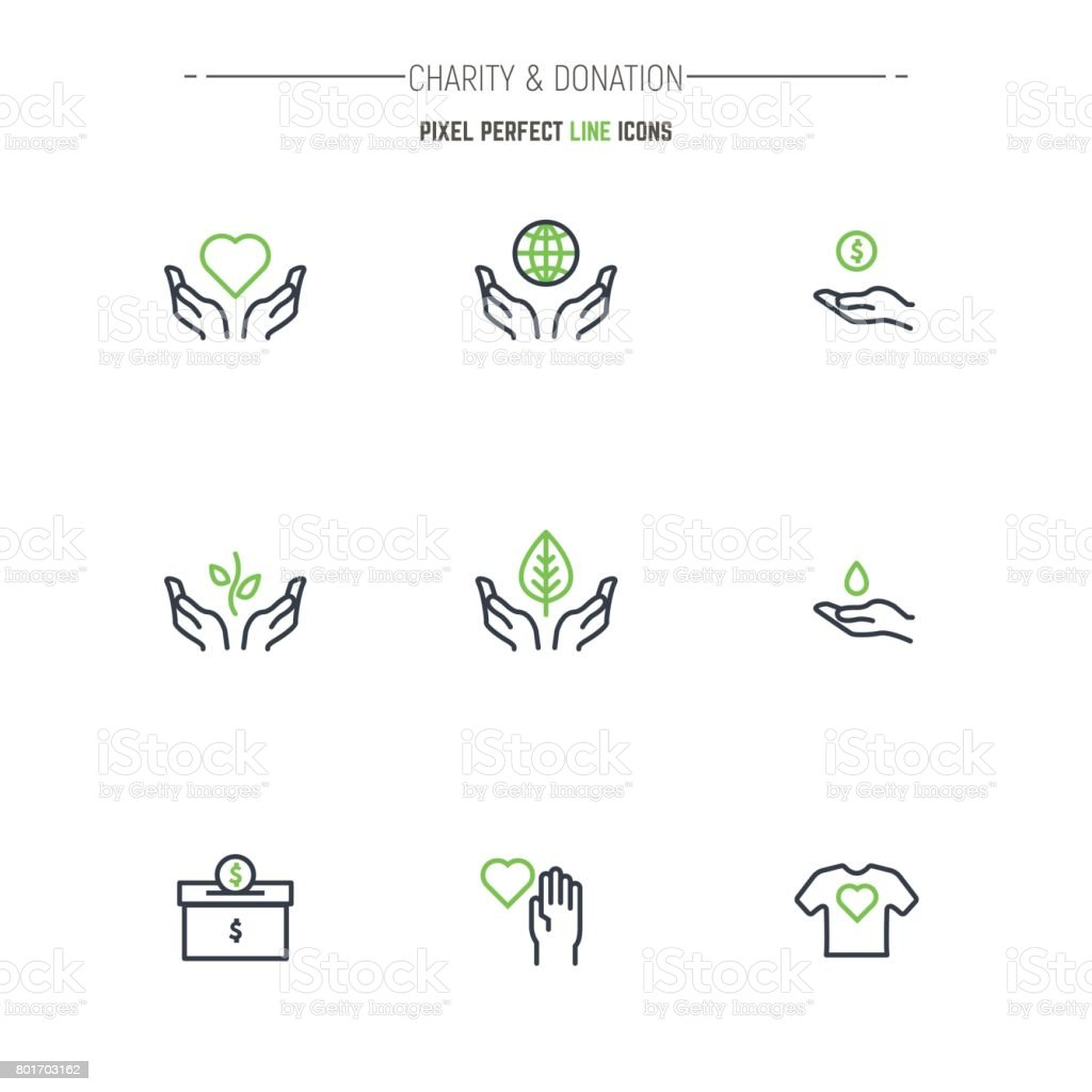 Charity and donation icons vector art illustration