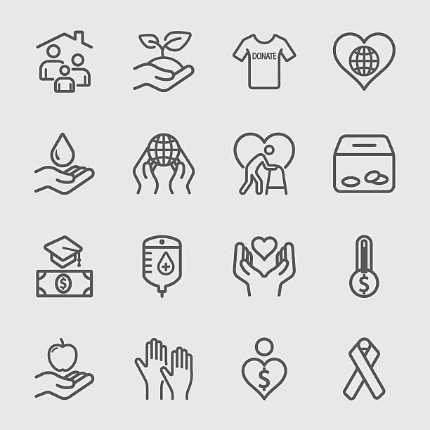 illustrazioni stock, clip art, cartoni animati e icone di tendenza di carità e donazione icone linea 2 - prendersi cura del corpo