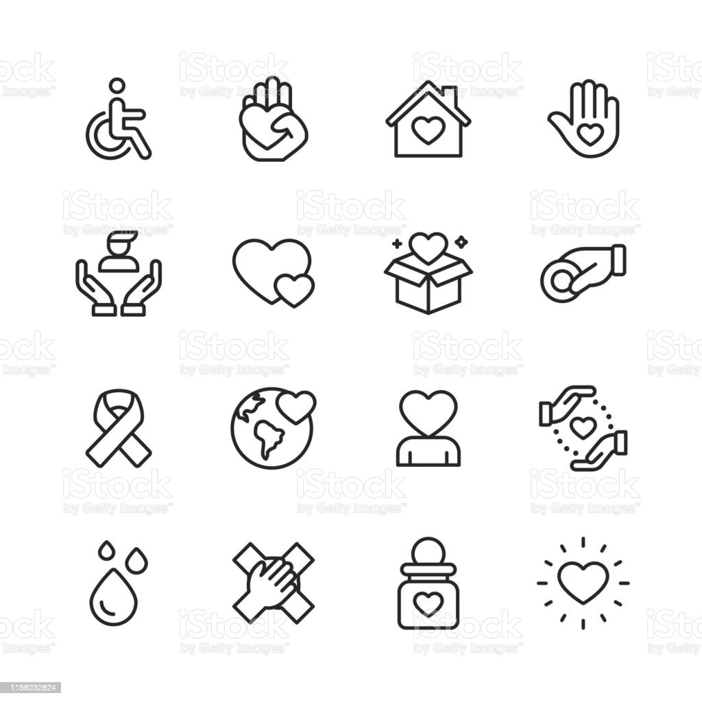 Charity and Donation Line Icons. Editable Stroke. Pixel Perfect. For Mobile and Web. Contains such icons as Charity, Donation, Disability, Giving, Blood Donation, Teamwork. - Royalty-free Amor arte vetorial