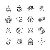 16 Charity and Donation Outline Icons.