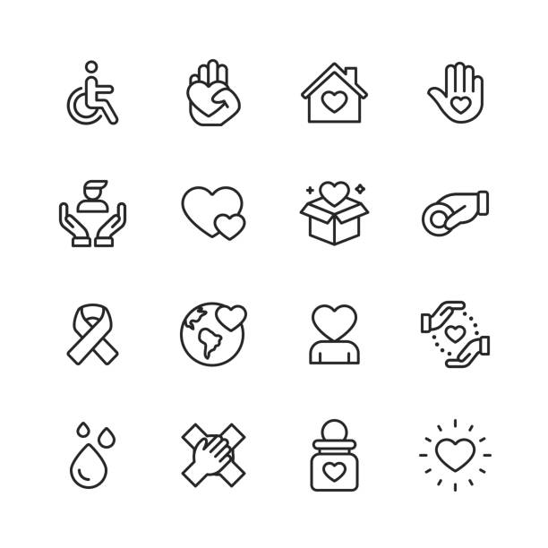 ilustrações de stock, clip art, desenhos animados e ícones de charity and donation line icons. editable stroke. pixel perfect. for mobile and web. contains such icons as charity, donation, disability, giving, blood donation, teamwork. - handicapped