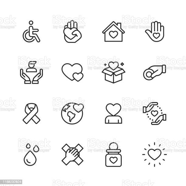 Charity And Donation Line Icons Editable Stroke Pixel Perfect For Mobile And Web Contains Such Icons As Charity Donation Disability Giving Blood Donation Teamwork - Arte vetorial de stock e mais imagens de Amor