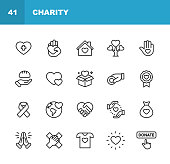 istock Charity and Donation Line Icons. Editable Stroke. Pixel Perfect. For Mobile and Web. Contains such icons as Charity, Donation, Giving, Food Donation, Teamwork, Relief. 1158828982