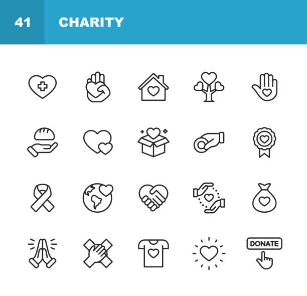 Charity and Donation Line Icons. Editable Stroke. Pixel Perfect. For Mobile and Web. Contains such icons as Charity, Donation, Giving, Food Donation, Teamwork, Relief. 20 Charity and Donation Outline Icons. conceptual symbol stock illustrations