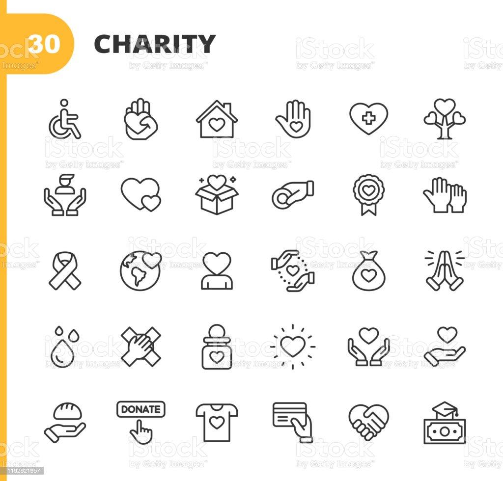 Charity und Spende Linie Icons. Bearbeitbarer Strich. Pixel perfekt. Für Mobile und Web. Enthält Symbole wie Nächstenliebe, Spende, Spenden, Lebensmittelspende, Teamarbeit, Relief. - Lizenzfrei Abzeichen Vektorgrafik