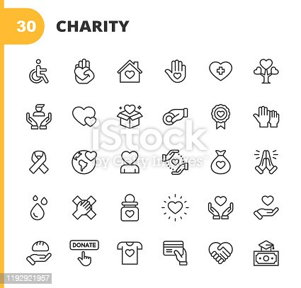 30 Charity and Donation Outline Icons.