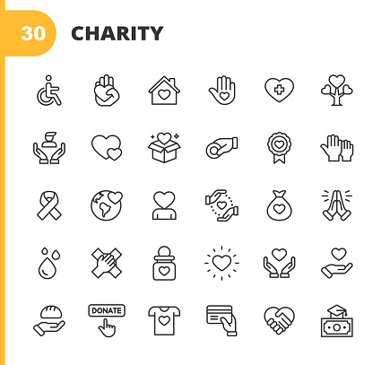 Charity and Donation Line Icons. Editable Stroke. Pixel Perfect. For Mobile and Web. Contains such icons as Charity, Donation, Giving, Food Donation, Teamwork, Relief.