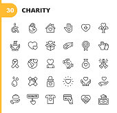 istock Charity and Donation Line Icons. Editable Stroke. Pixel Perfect. For Mobile and Web. Contains such icons as Charity, Donation, Giving, Food Donation, Teamwork, Relief. 1192921957