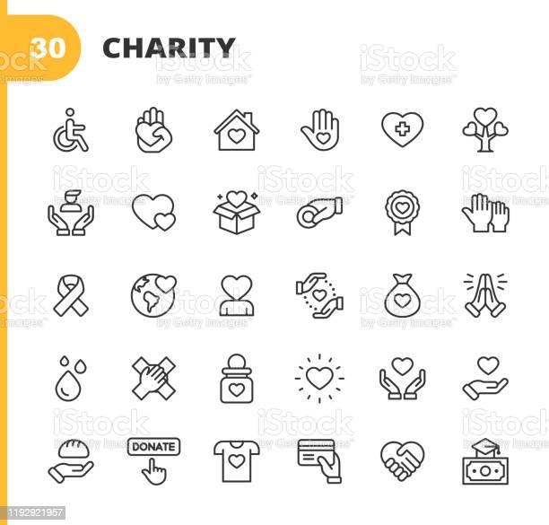 Charity Und Spende Linie Icons Bearbeitbarer Strich Pixel Perfekt Für Mobile Und Web Enthält Symbole Wie Nächstenliebe Spende Spenden Lebensmittelspende Teamarbeit Relief Stock Vektor Art und mehr Bilder von Abzeichen