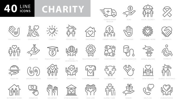 Charity and Donation Line Icons. Editable Stroke. Pixel Perfect. For Mobile and Web. Contains such icons as Charity, Donation, Giving, Food Donation, Teamwork, Relief Charity and Donation Line Icons. Editable Stroke. Pixel Perfect. For Mobile and Web. Contains such icons as Charity, Donation, Giving, Food Donation, Teamwork, Relief social issues stock illustrations
