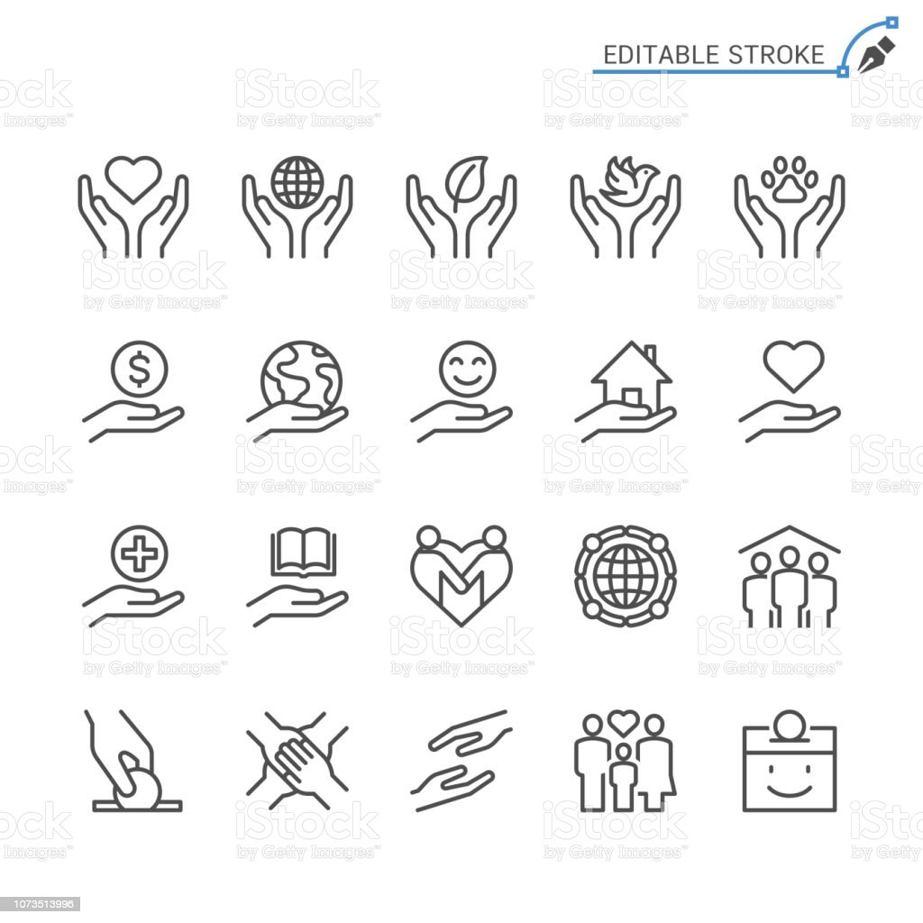Charity and donation line icons. Editable stroke. Pixel perfect. royalty-free charity and donation line icons editable stroke pixel perfect stock illustration - download image now