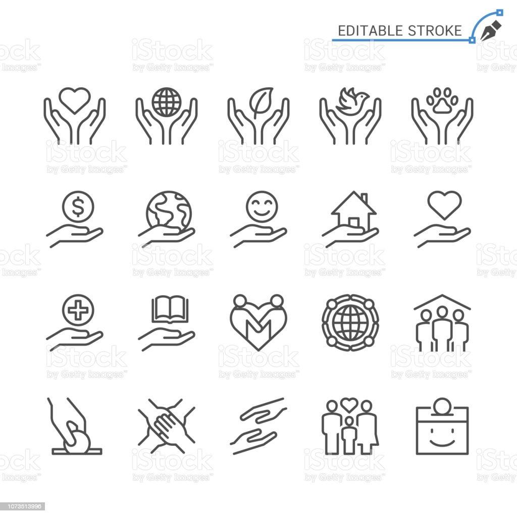 Välgörenhet och donationer linje ikoner. Redigerbara stroke. Pixel perfekt. - Royaltyfri Barn vektorgrafik